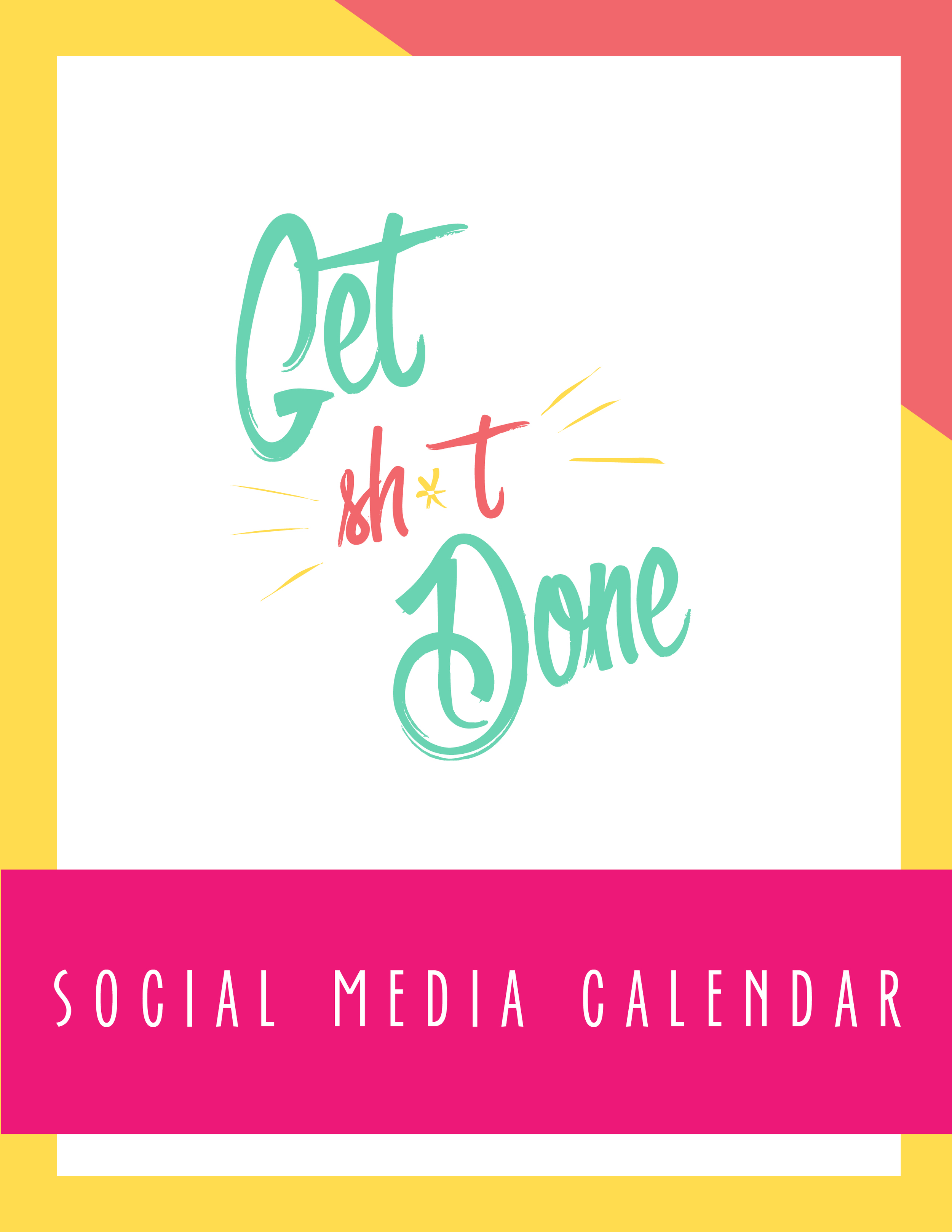 Bold & Pop Get Shit Done Social Media Calendar