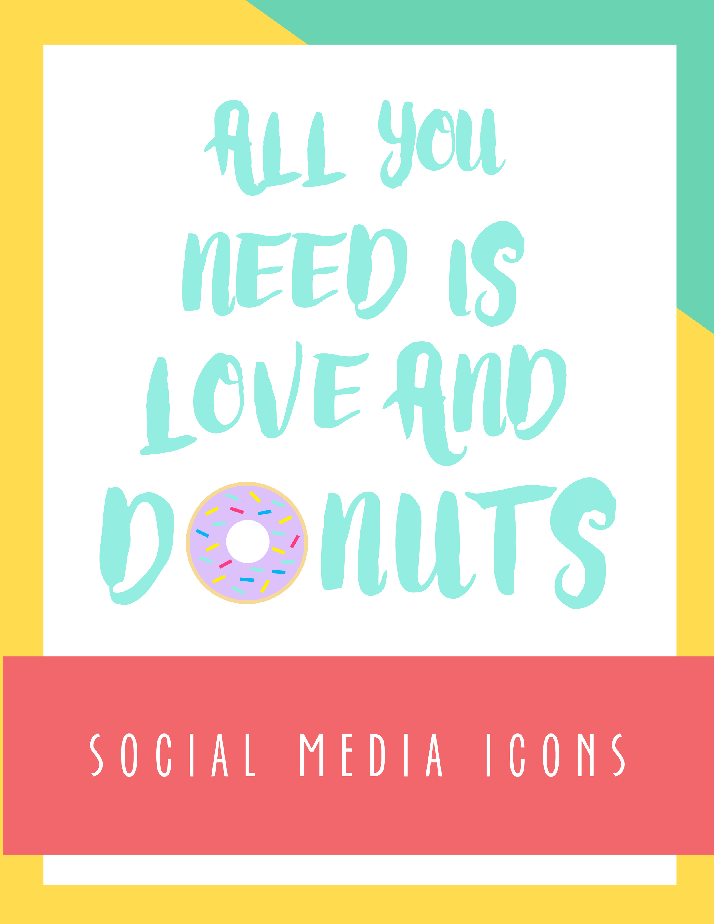 Bold & Pop: All You Need is Love And Donuts Social Media Icons