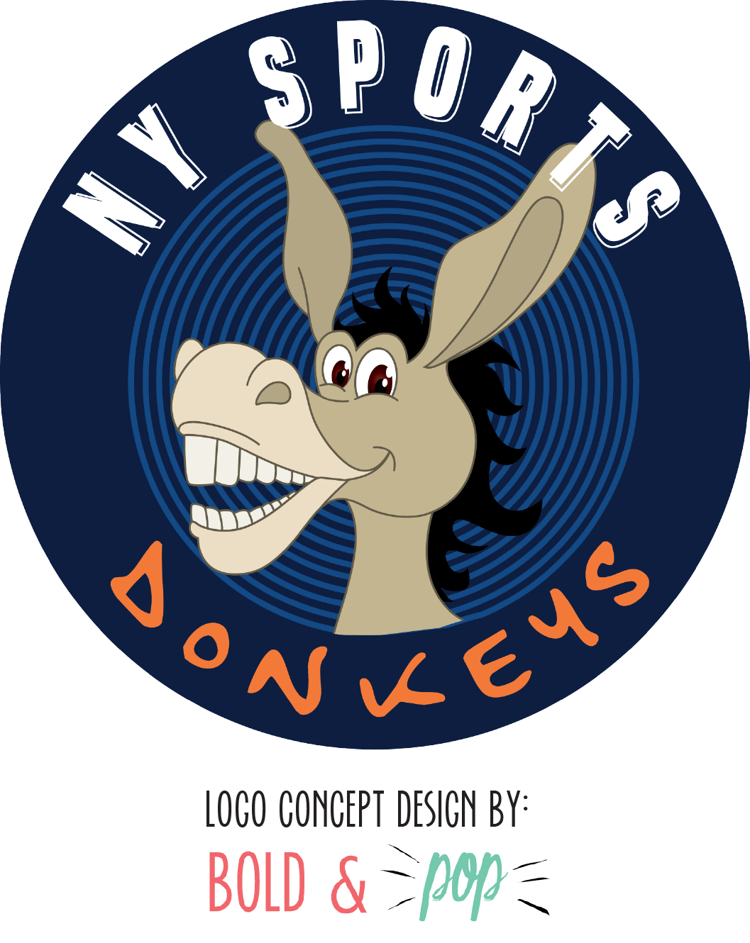 Bold & Pop : NY Sports Donkeys Branding Design