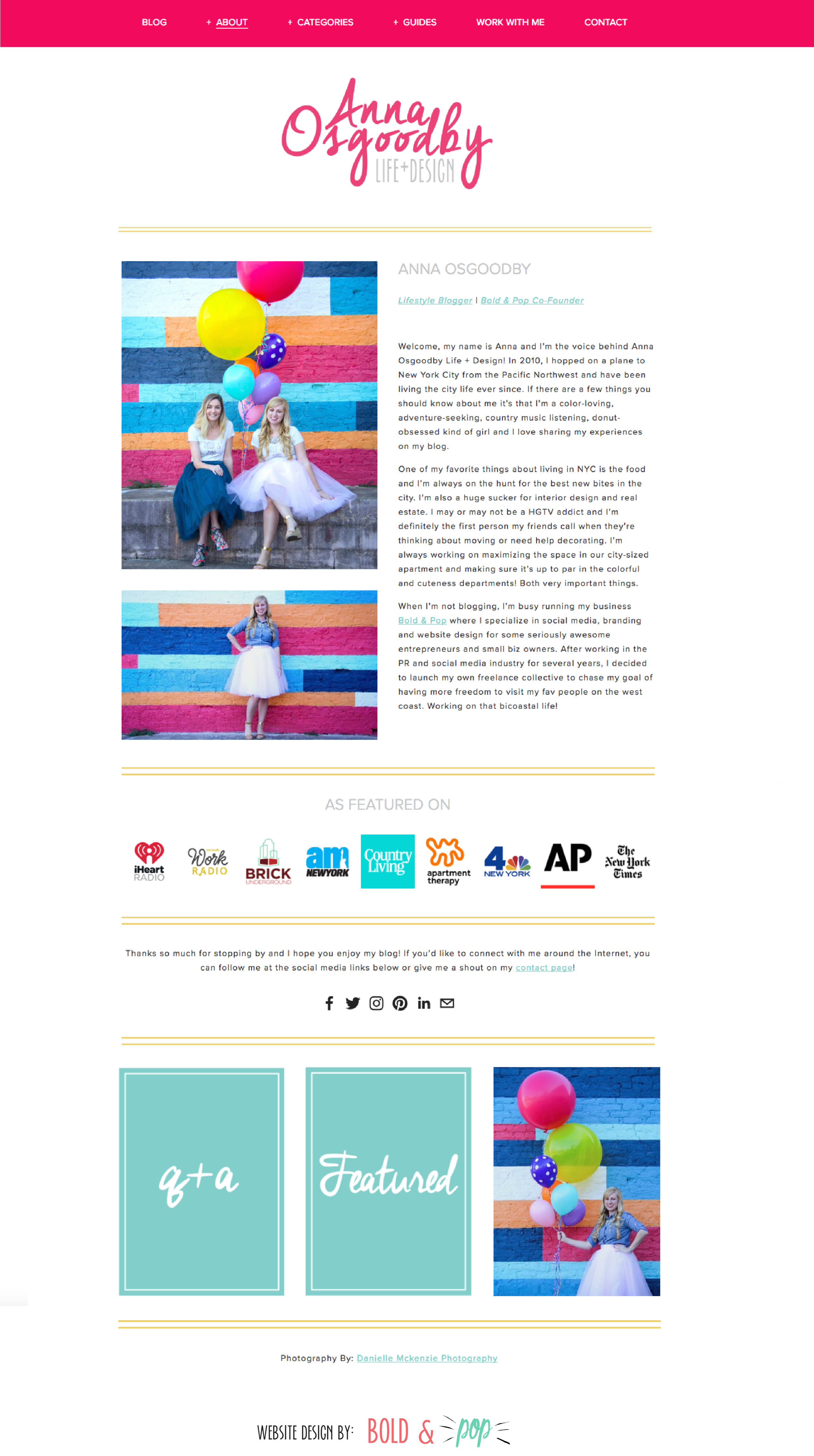 Bold & Pop :: NYC Living Blog Website Refresh