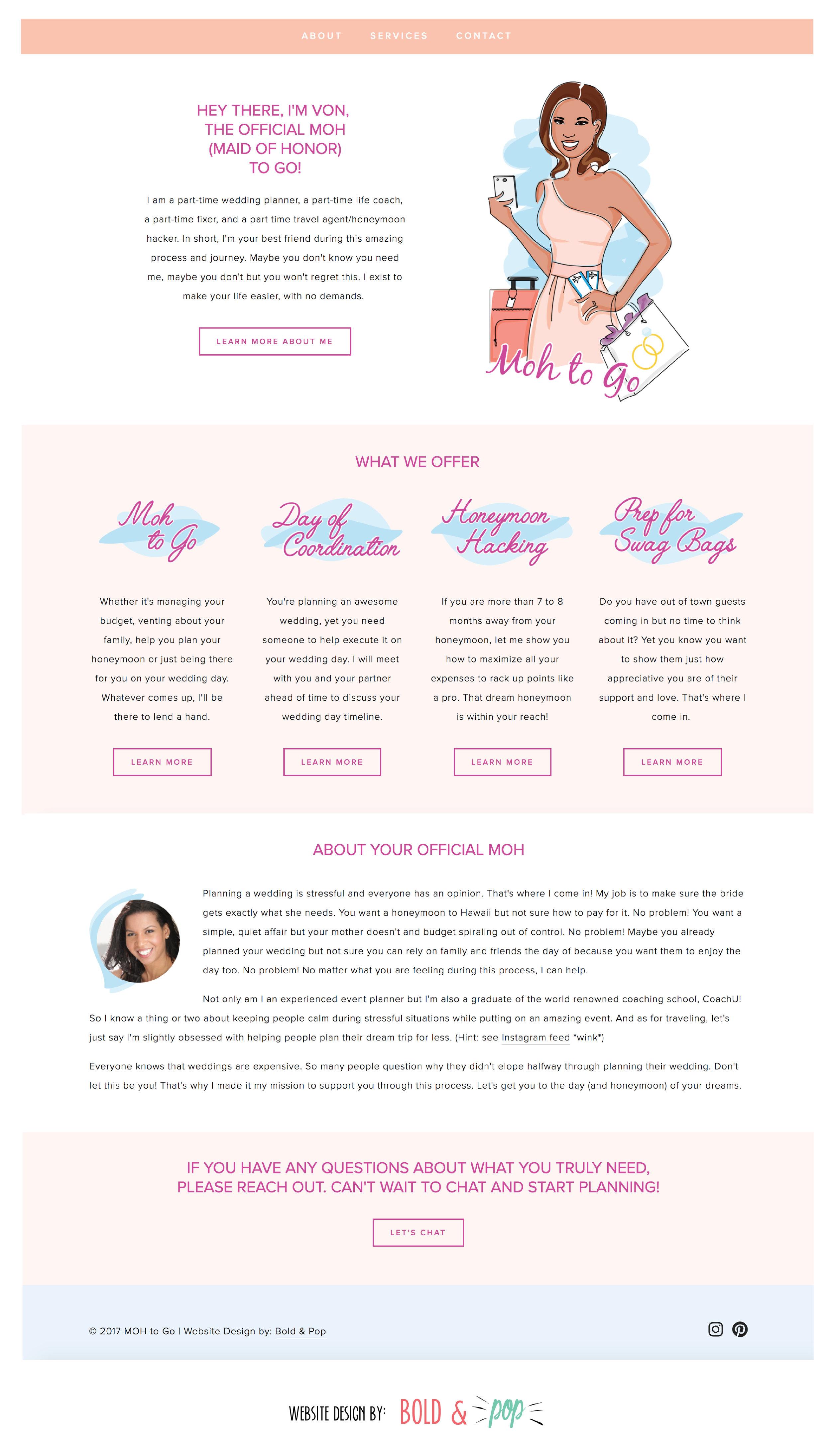 Bold & Pop : MOH to Go Squarespace Website Design Project