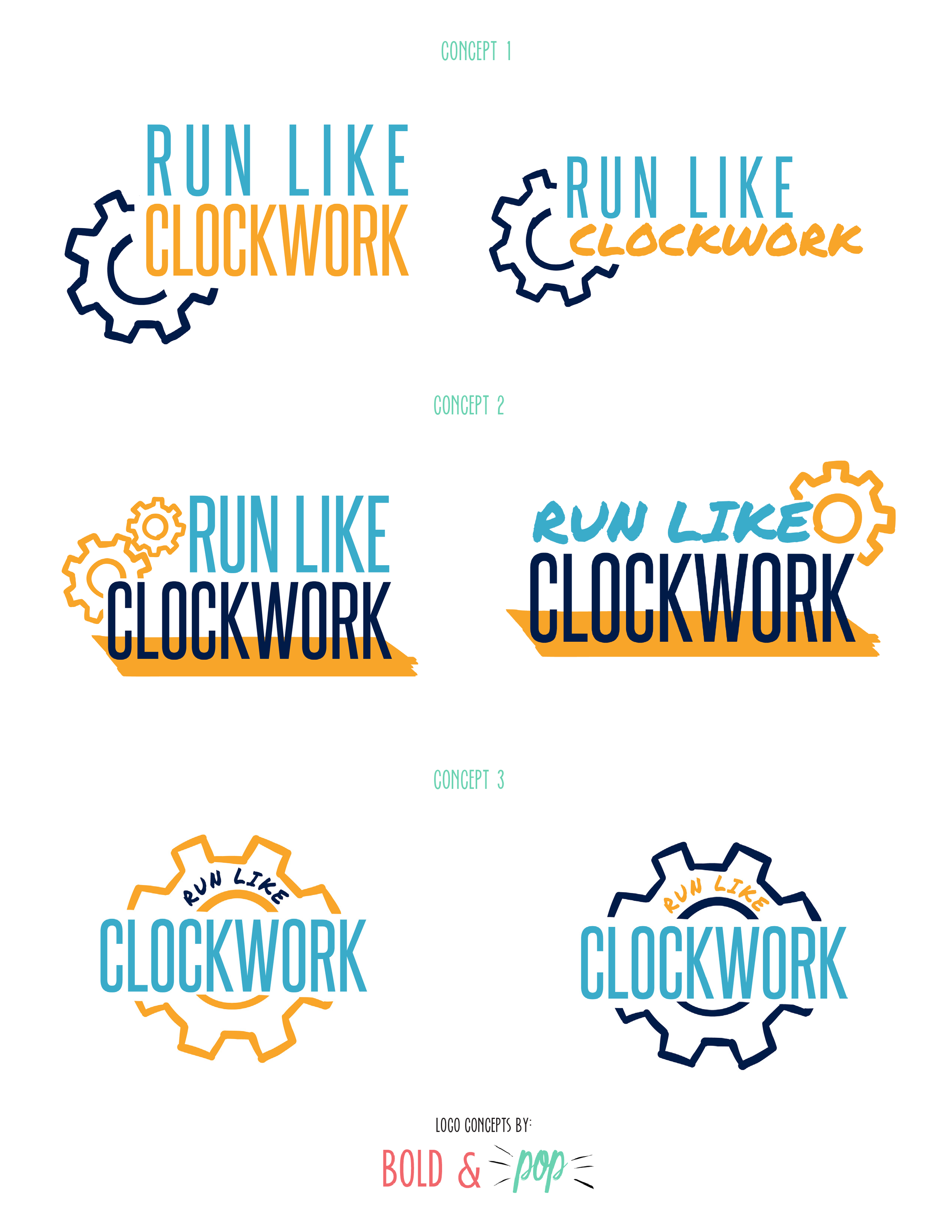 Bold & Pop : Run Like Clockwork Branding & Squarespace Website Design