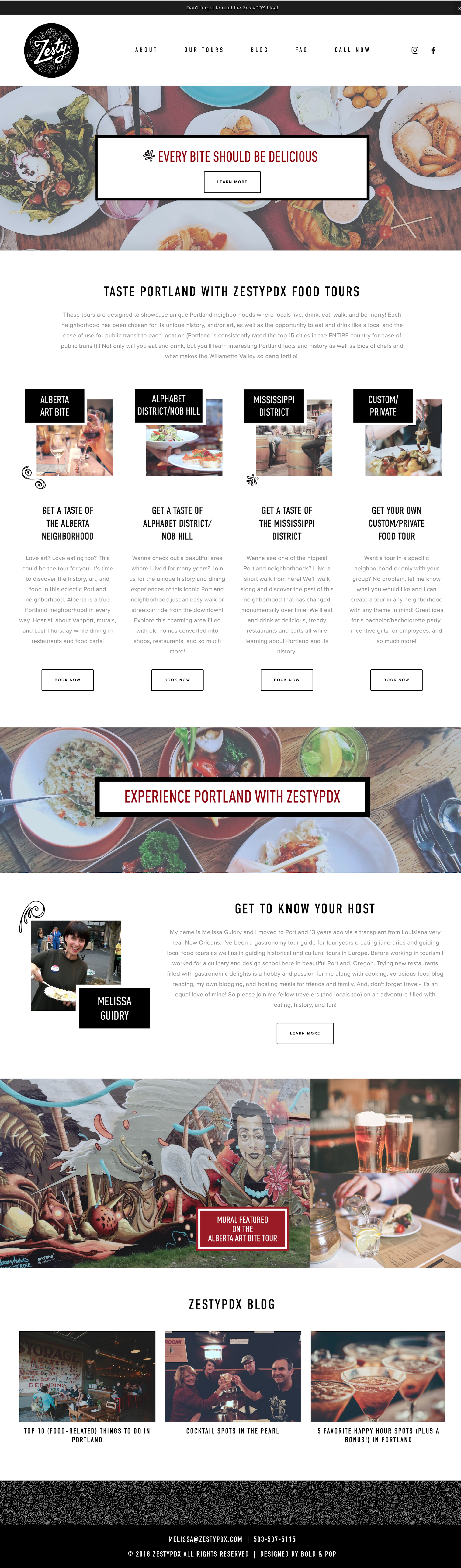 Food Tour Website & Collateral Design