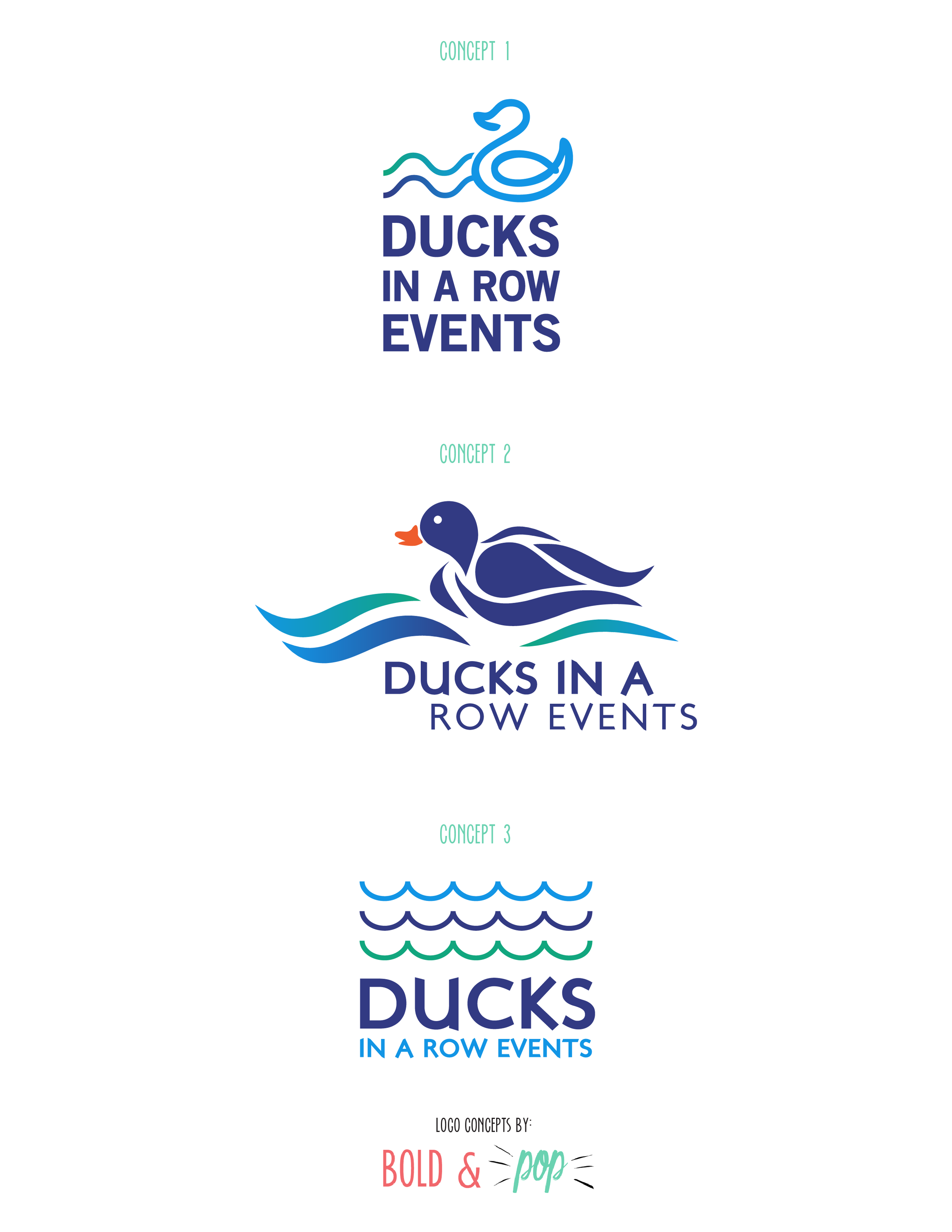 Bold & Pop : Ducks In A Row Events Logo Design