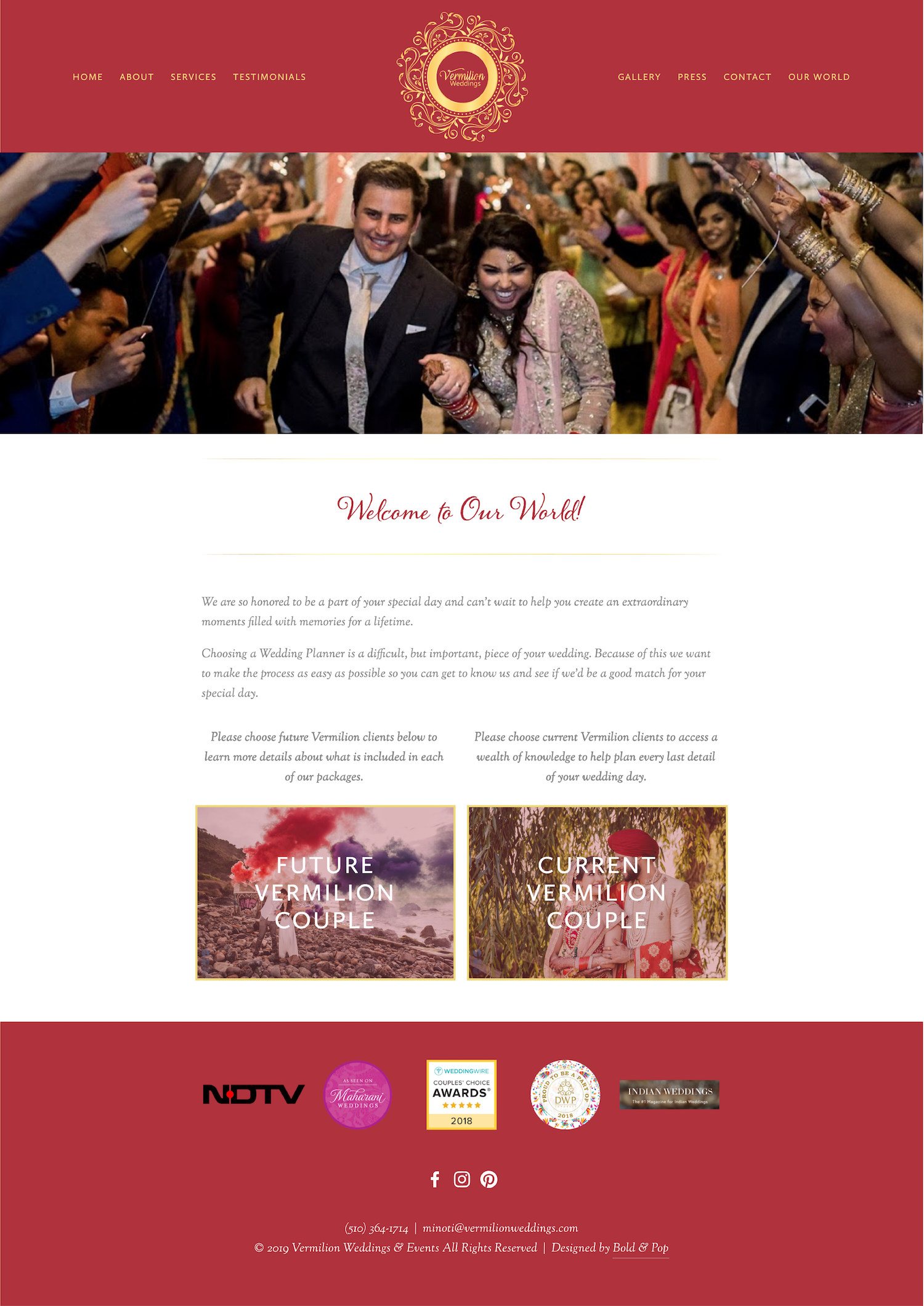 Bold & Pop : Vermilion Weddings Wedding and Events Planner Squarespace Website Design