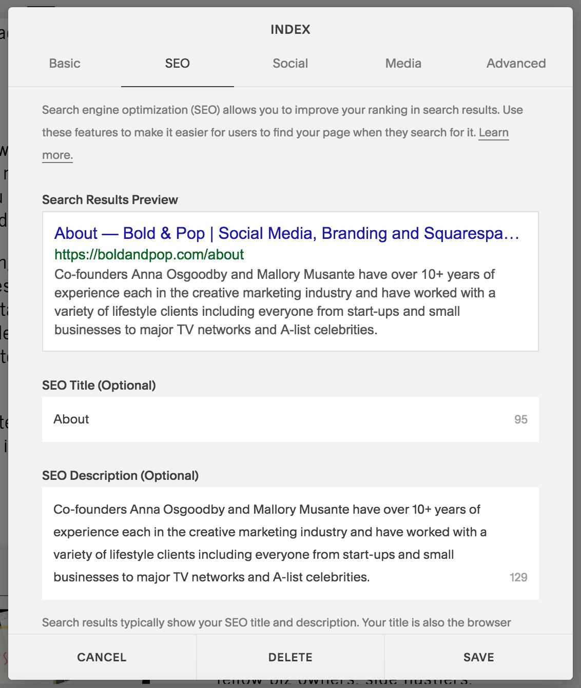 Bold & Pop : SEO Setup Guide for Your Squarespace Website