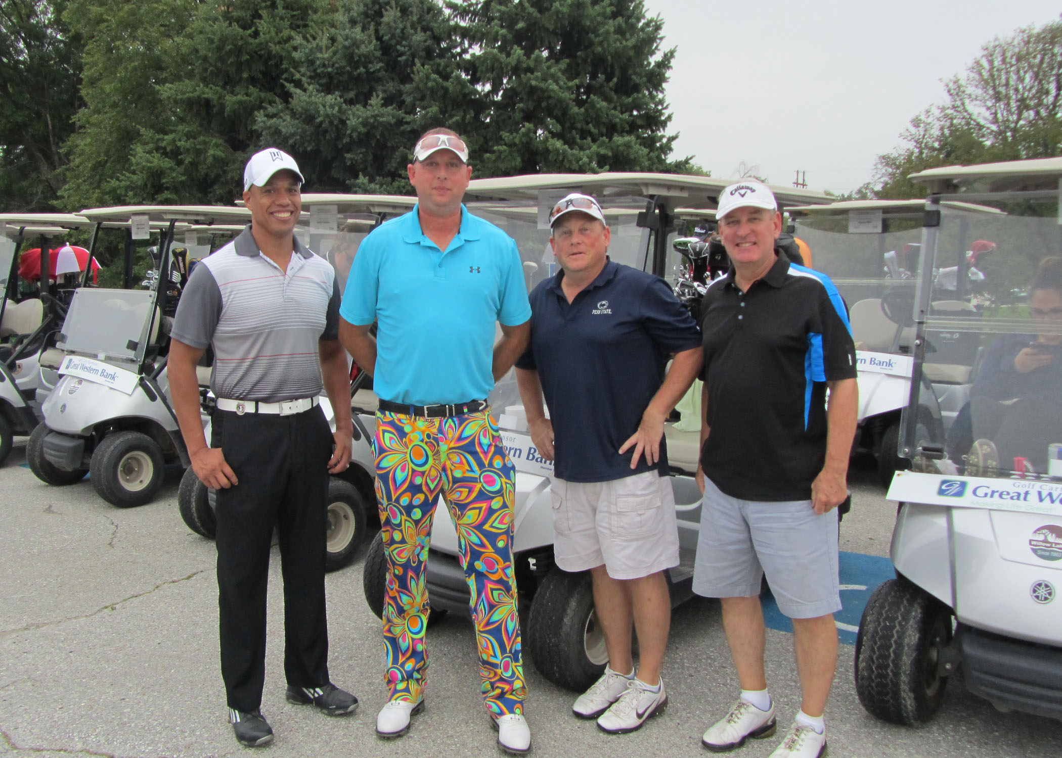"""The winning team of the whole tournament also had a member with the """"Best Dressed Individual"""" award! Congratulations Corey Whigham! (Duane Smith, Corey Whigham, Rodney Mills, Dan Hamilton)"""