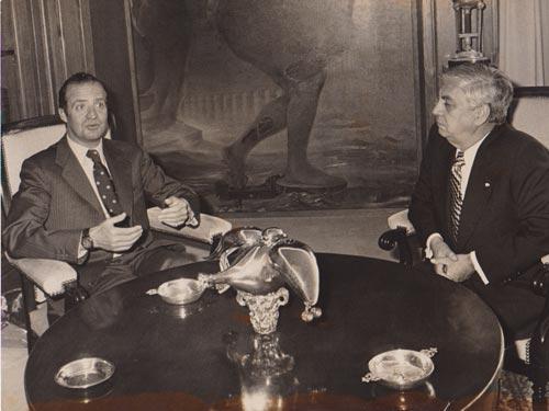 Madrid, España. (21 de Abril, 1978)   Audiencia concedida por S.M. el Rey en el Palacio de la Zarzuela al ministro de Asuntos Exteriores de Guatemala, Adolfo Molina Orantes.