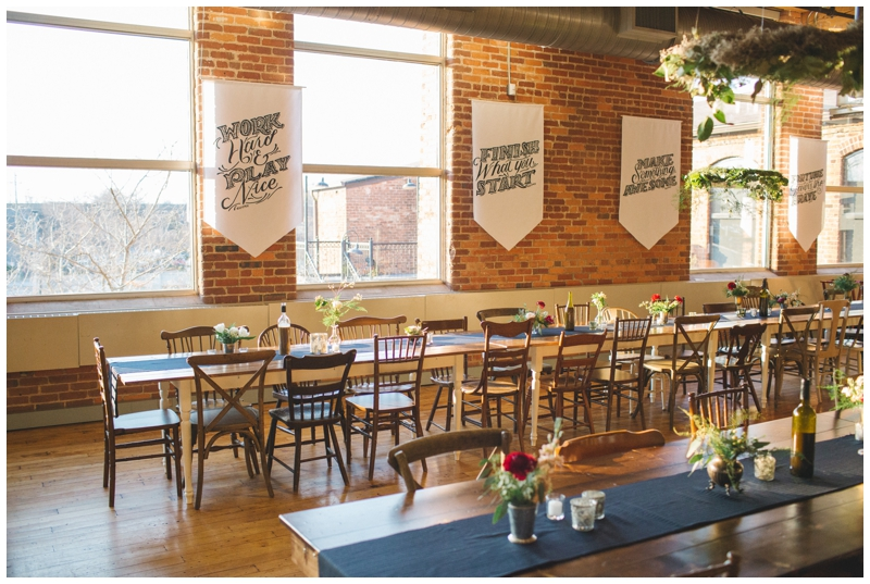 Vintage Event Rentals at the Certus Loft in Greenville, SC. Farm table and chair rental in Greenville, SC