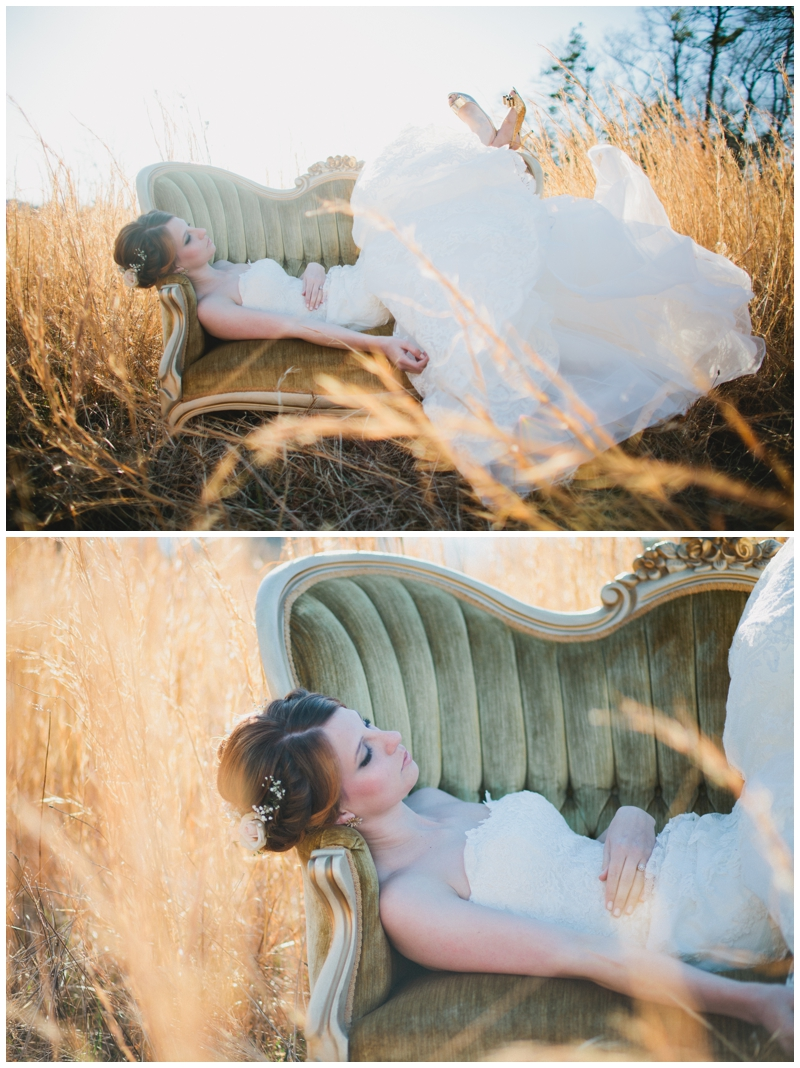 vintage sofa rental for bridal session in Greenville, SC