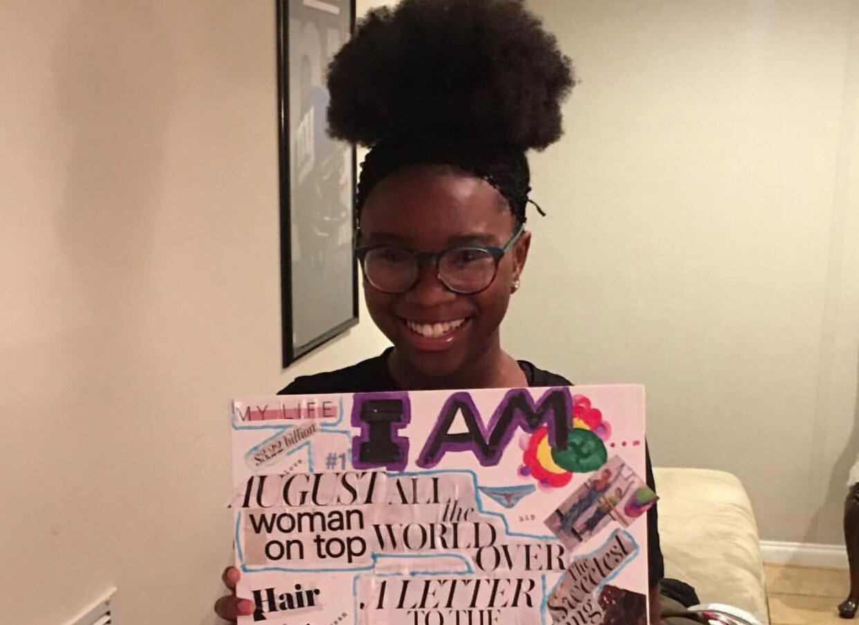 "Teen participant at the ""I Am"" Canvas Vision Board Workshop.  Photo Courtesy of Sweets Girlz Inc."