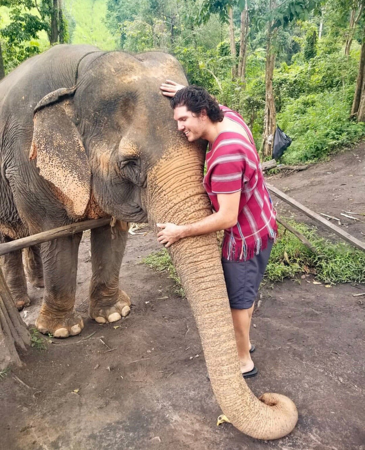 Ortiz hugging an elephant  Photo Courtesy of Joaquin Ortiz