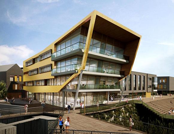 Visual representation of new building