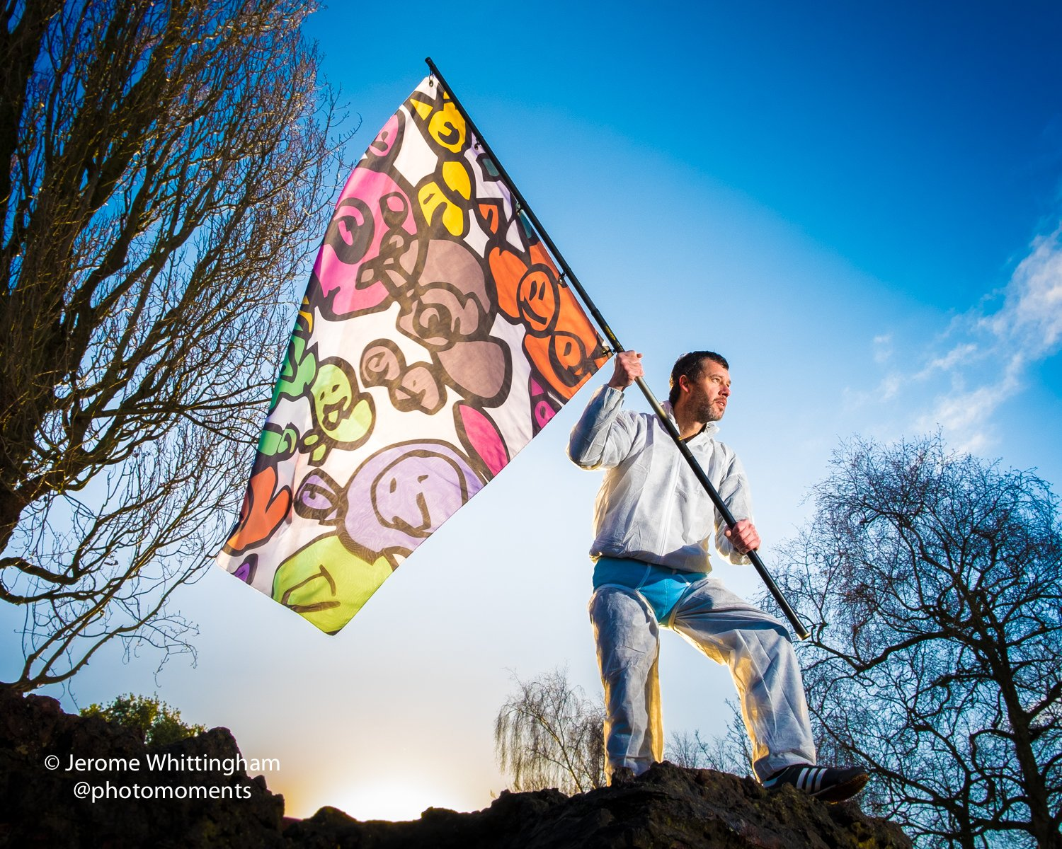Jason at Creative Briefs, raising the finished Flag For Hull design