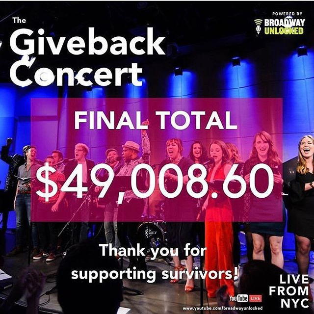 Thank you, thank you, thank you to each and every one of you who made this year's #Giveback Concert a rousing success. With your help, @broadwayunlocked raised $49,008.60 for CVTC. We are endlessly grateful, and humbled by your support. ❤️🙌🎉 . . . . . #cvtcnyc #cvtc #broadwayunlocked #givebackconcert #supportsurvivors