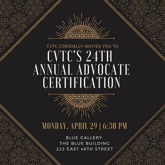 Join us at @bluegallerynyc on Monday, April 29 as we celebrate our Class of 2017 Advocates for being certified by the NY Department of Health as rape crisis and domestic violence counselors. For the past year and a half, these volunteers have supported survivors of violence in ERs across NYC. Now, we honor them. Live music, hors d'oeuvres and libations from 6:30-8:30pm. RSVP & detail link in bio. . . . . . #cvtcnyc #cvtc #sproutfam #supportsurvivors