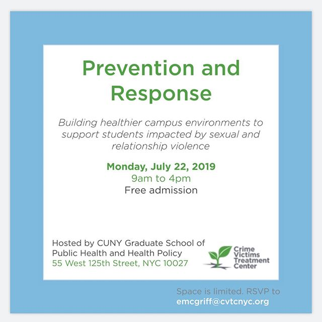 We are now less than 2 weeks away from our training for campus staff on prevention and response to sexual and relationship violence! Space is still available so let us know if you'd like to attend!