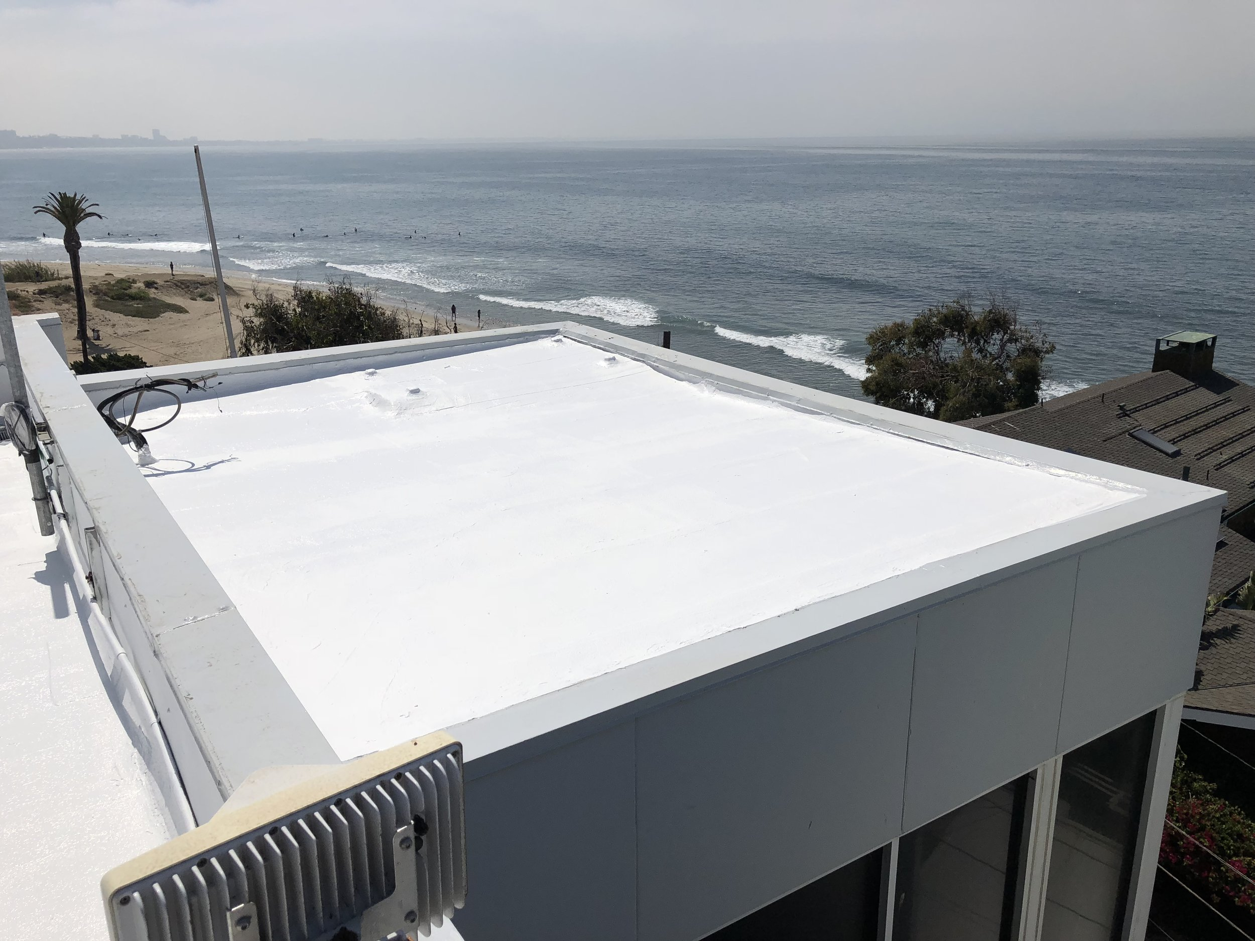 Roof coating on Malibu surf shop 2