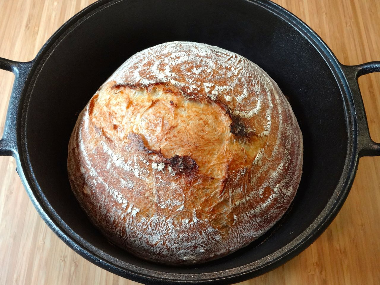 7. preheat cast iron dutch oven in 475F oven (use oven thermometer) bake the bread covered 30 min, then remove lid and bake 15 min longer cool completely on rack before eating