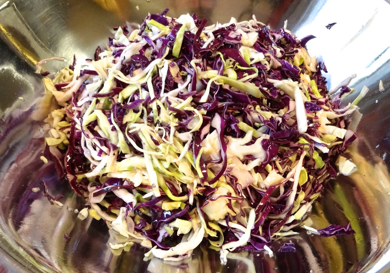 mix the cabbage and salt, let sit at least 1 hour for the juices to release