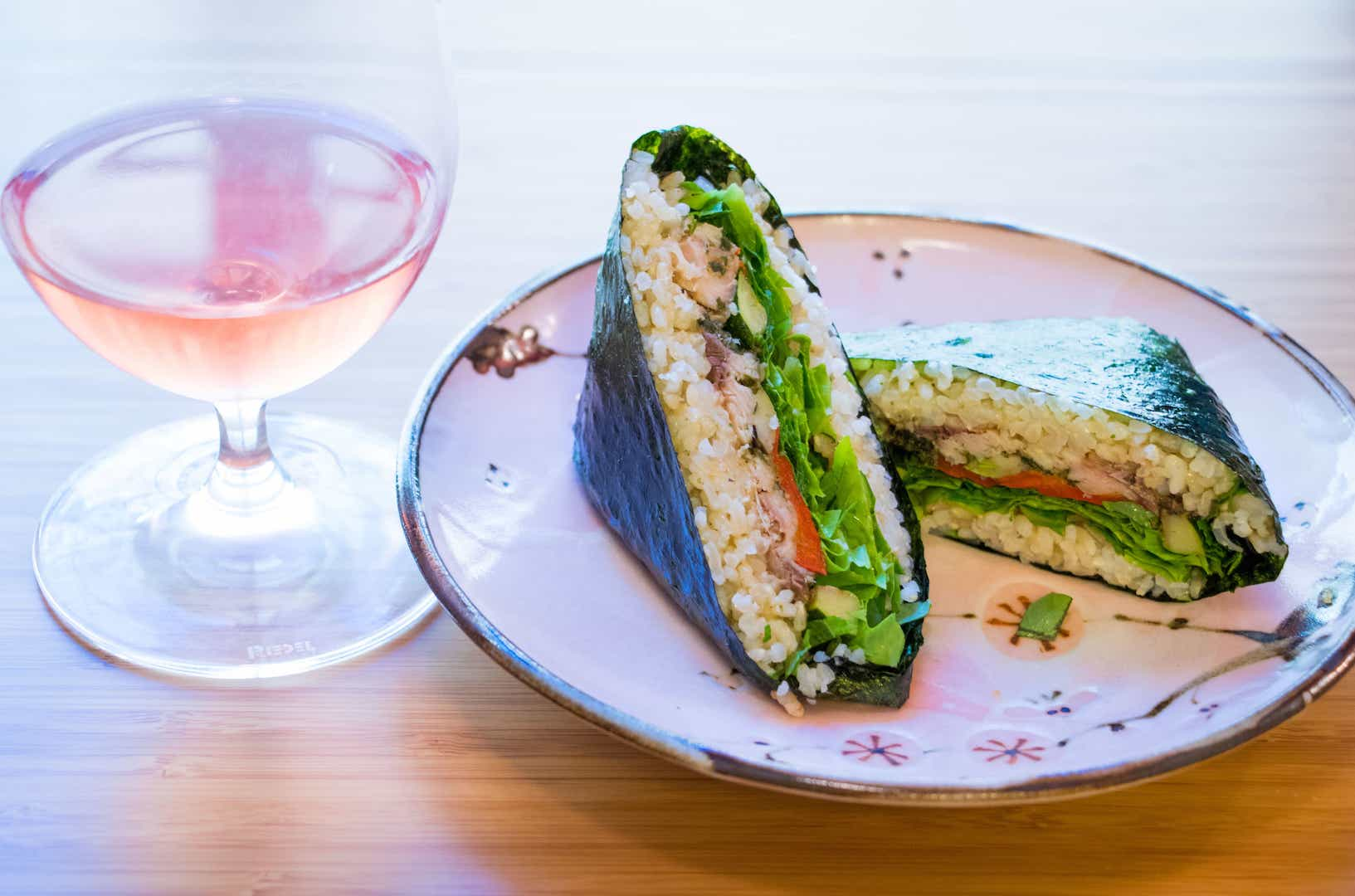Willamette Valley rose with onigirazu (nori, brown rice, canned sardines, grilled zucchini and peppers, lettuce, shiso, and shoyu-balsamic vinaigrette). There are no rules.