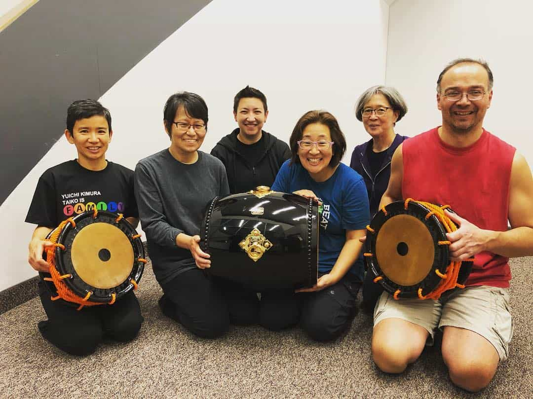 TaikoArts Midwest members with the newly arrived Edo Bayashi taiko from Miyamoto Unosuke Shoten