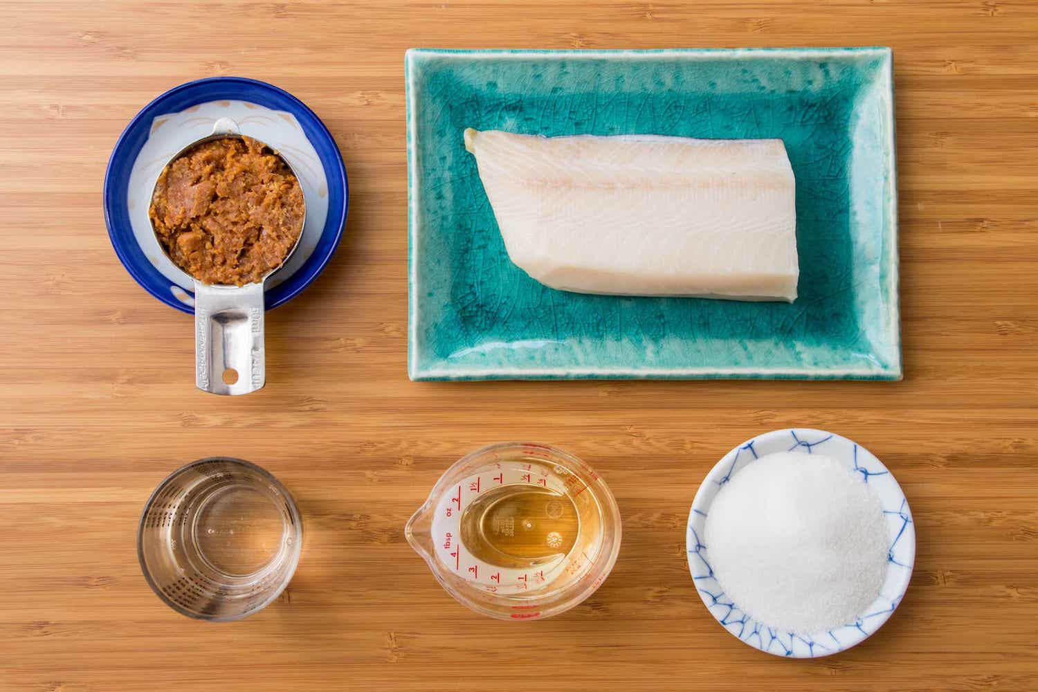 Miso butterfish ingredients: miso, butterfish, sugar, mirin, sake