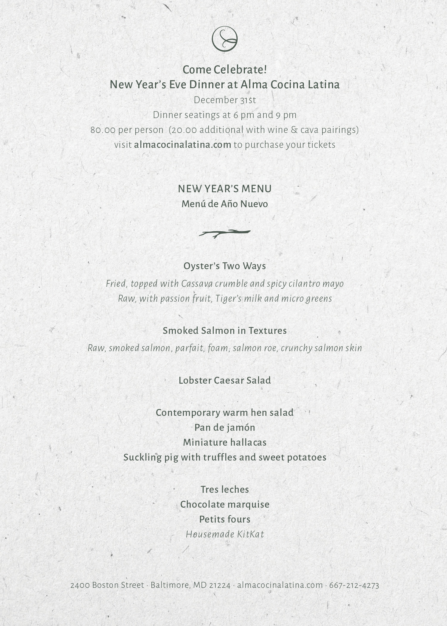 New Year S Eve Dinner Dinner Seating 1 6pm Alma