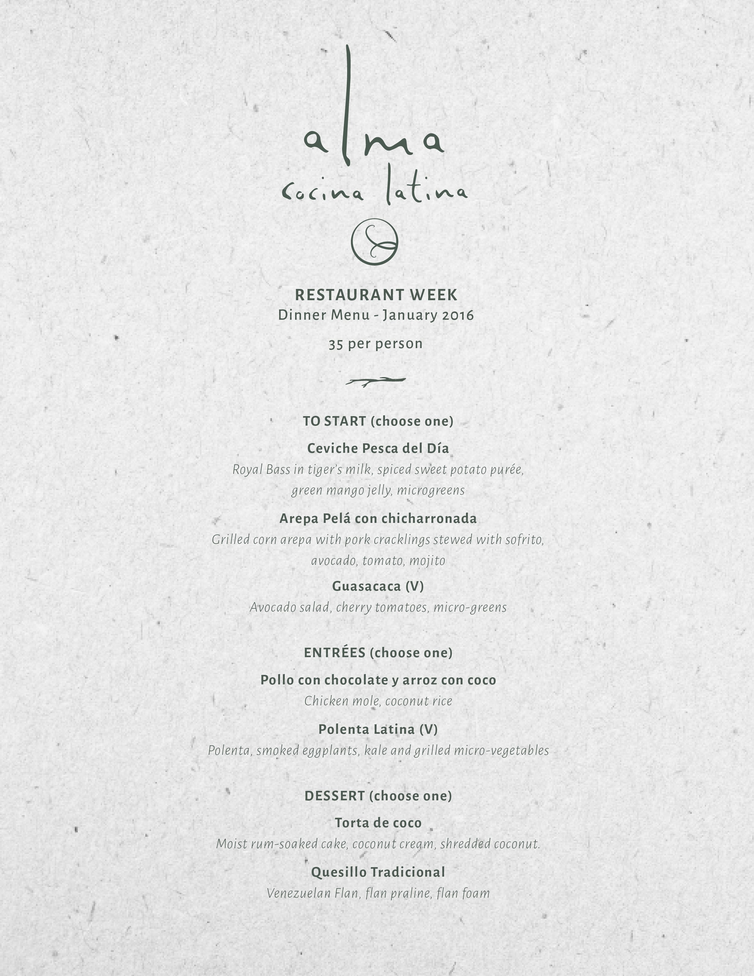 Restaurant Week At Alma S Alma