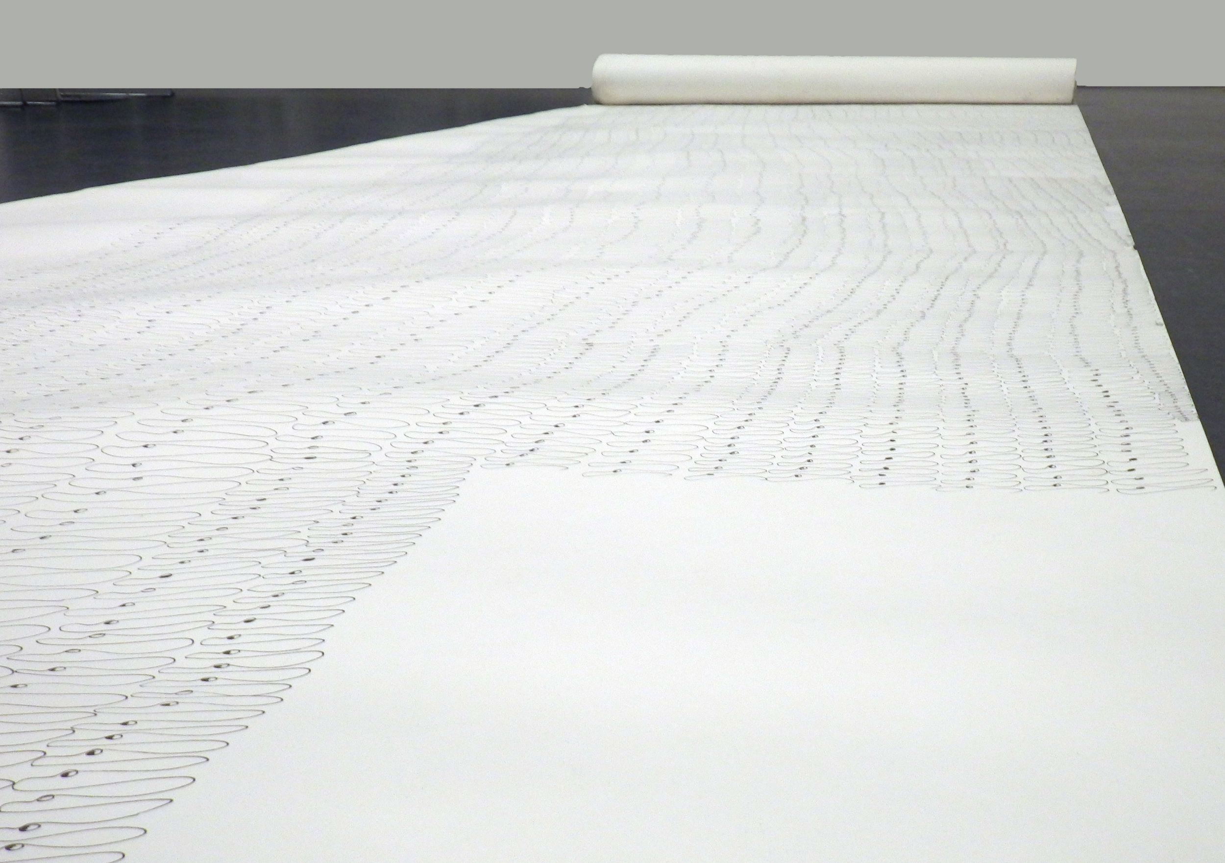 Unveiling the Va, 2014, Black Pen on Paper, 4.4x 12 feet
