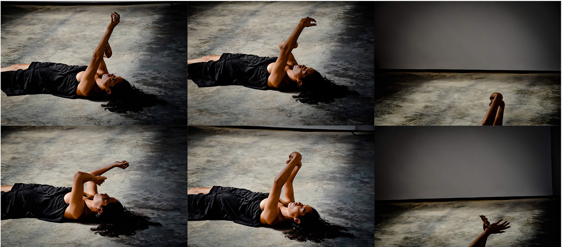 A composite image of 6 image stills of Pelenakeke's arms in the air, dancing. Photo credit: Vladimir Radojicic. Image from July 2018, Denniston Hill, performance.