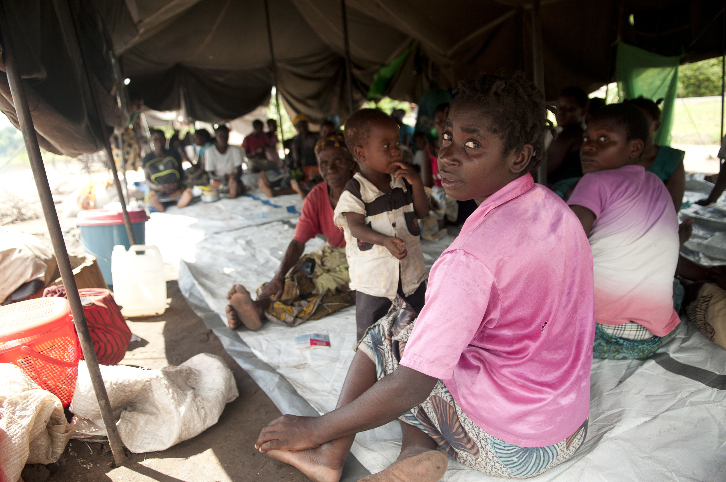 Flood victims seek shelter in tents at Sekani 1 camp in Chikwawa district.