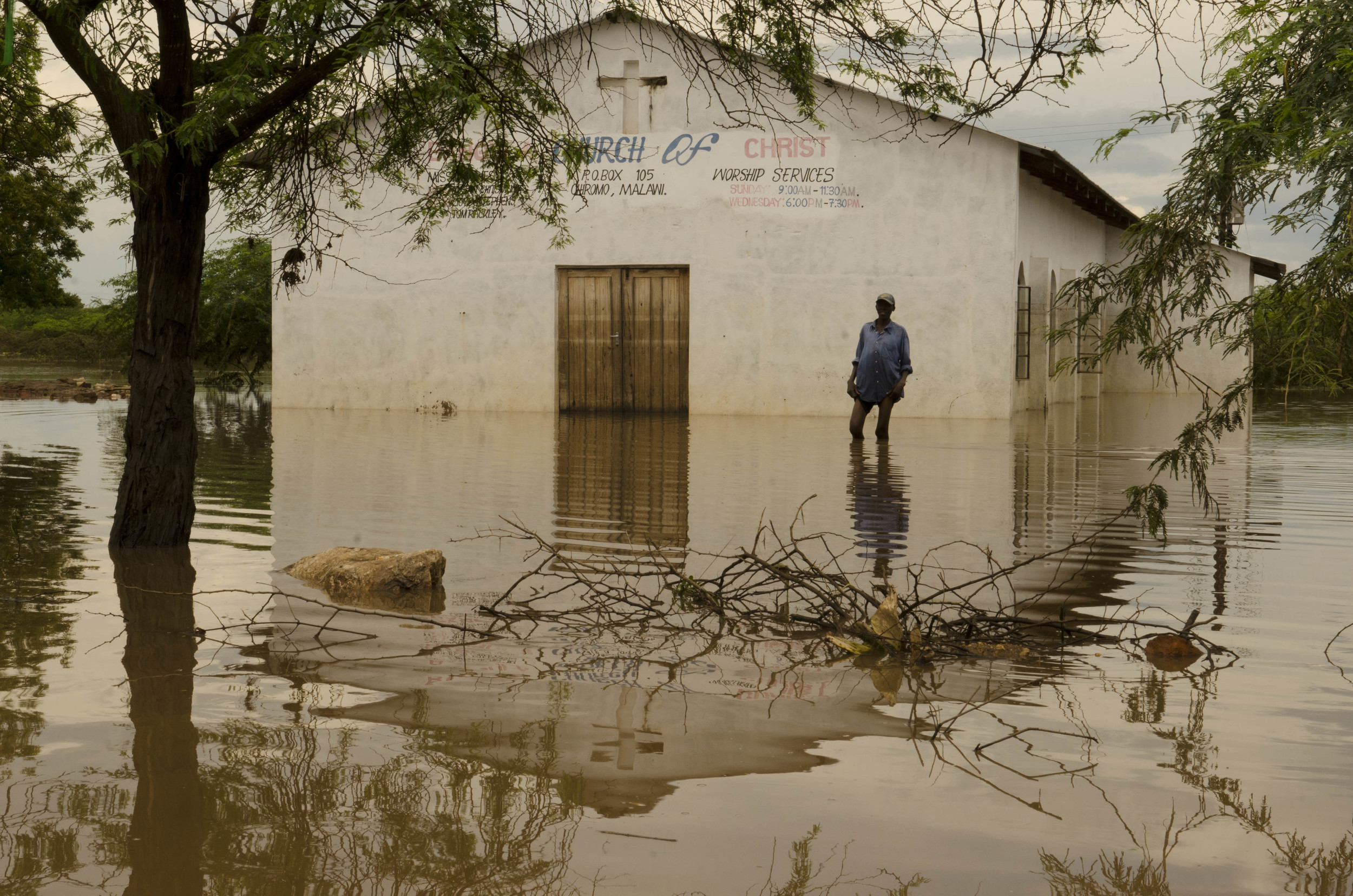 A flooded church in Bangula, Nsanje District.