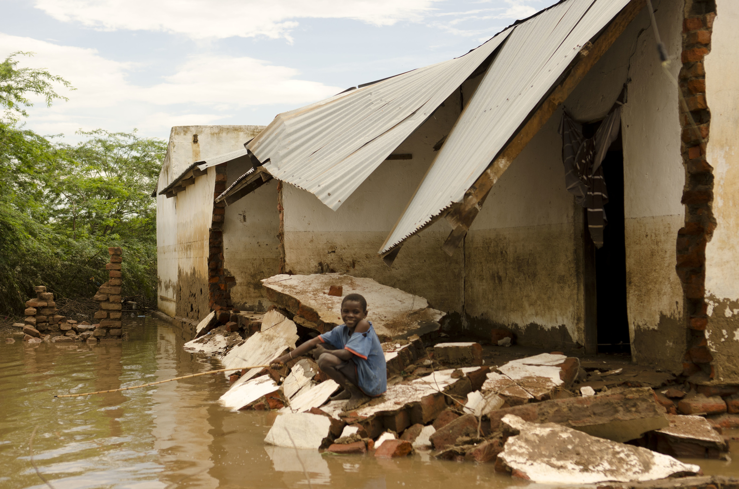 A house destroyed by floods at Bangula, Nsanje District.