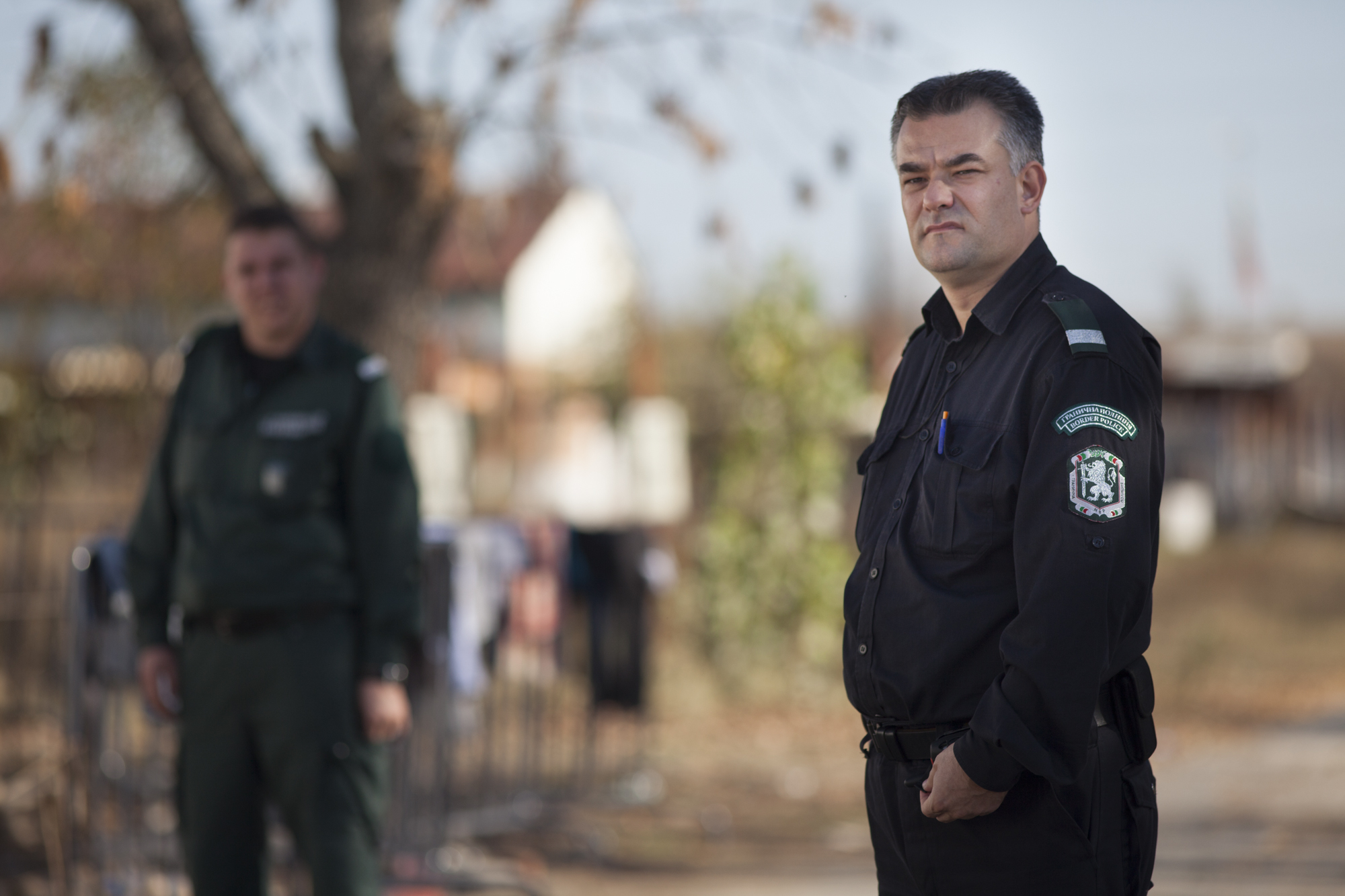 A Bulgarian border police officer at the Elhovo Border Police station, where migrants are held and processed before being sent on to detention centres or centres for asylum seekers.