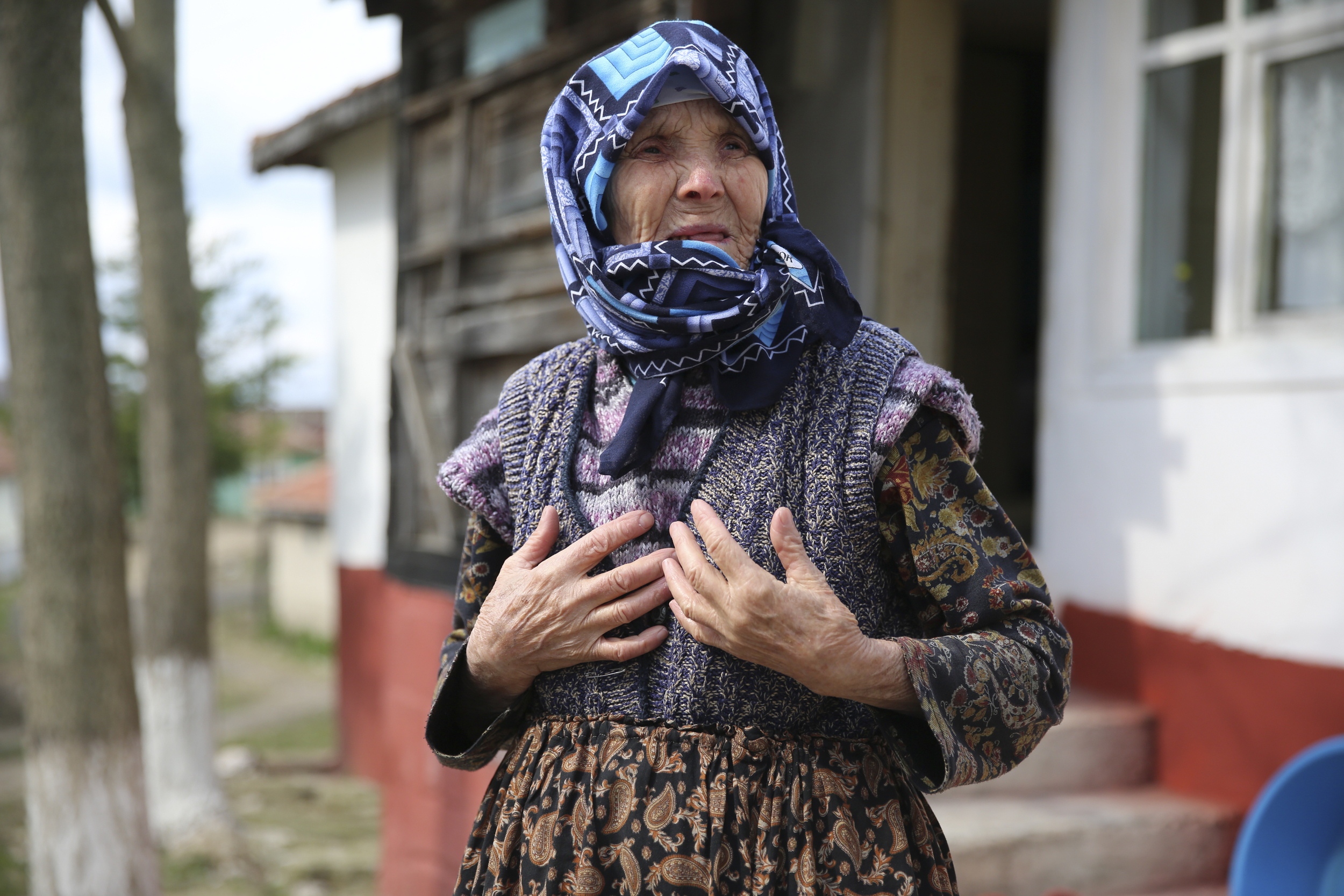 Ferede Sarar Gecer, 82, said that every day dozens of migrants pass through her village, which lies on the border with Bulgaria. She says she gives them food and tea.