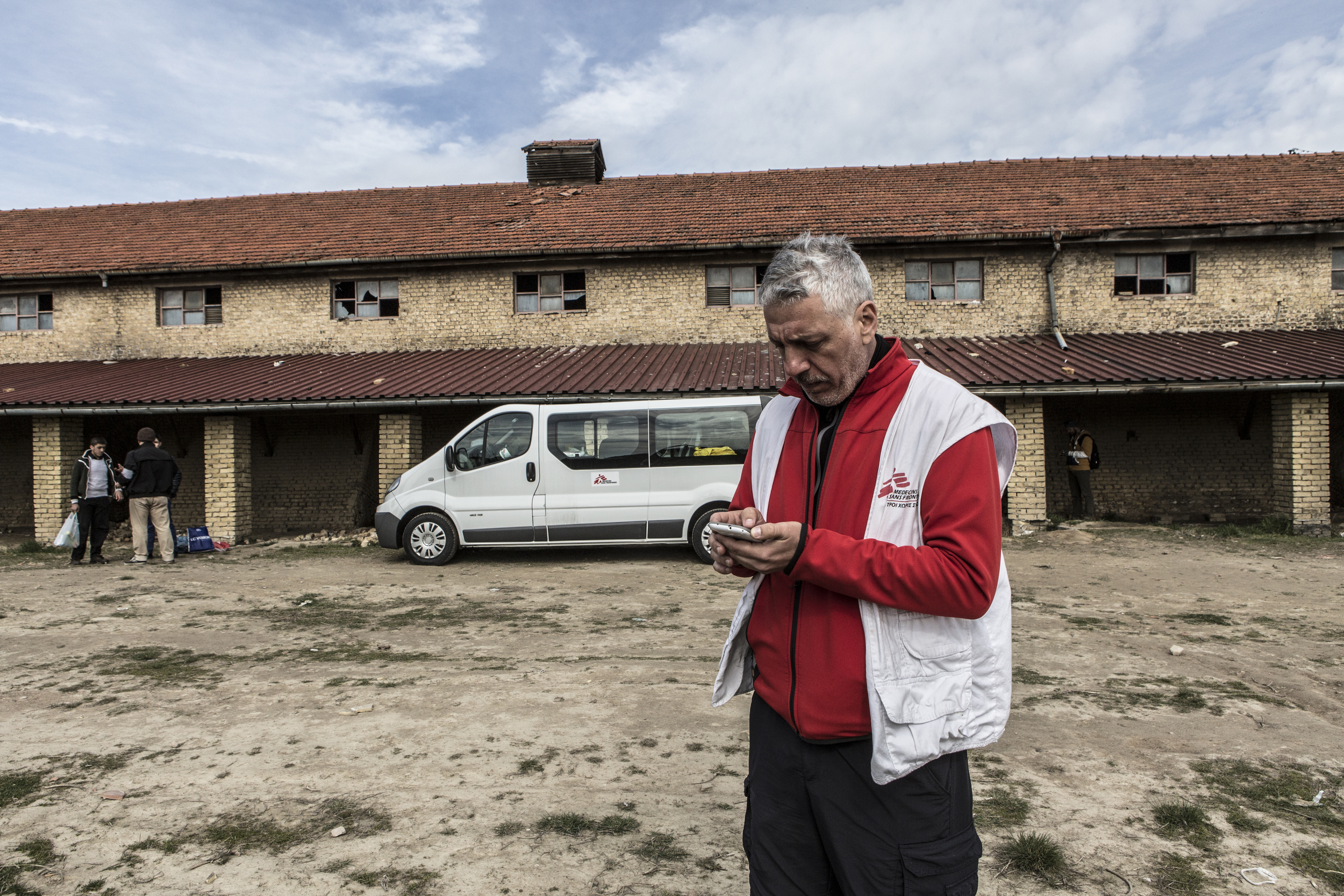 An MSF worker outside the brick factory in Subotica where a mobile clinic provides free medical care once a week.