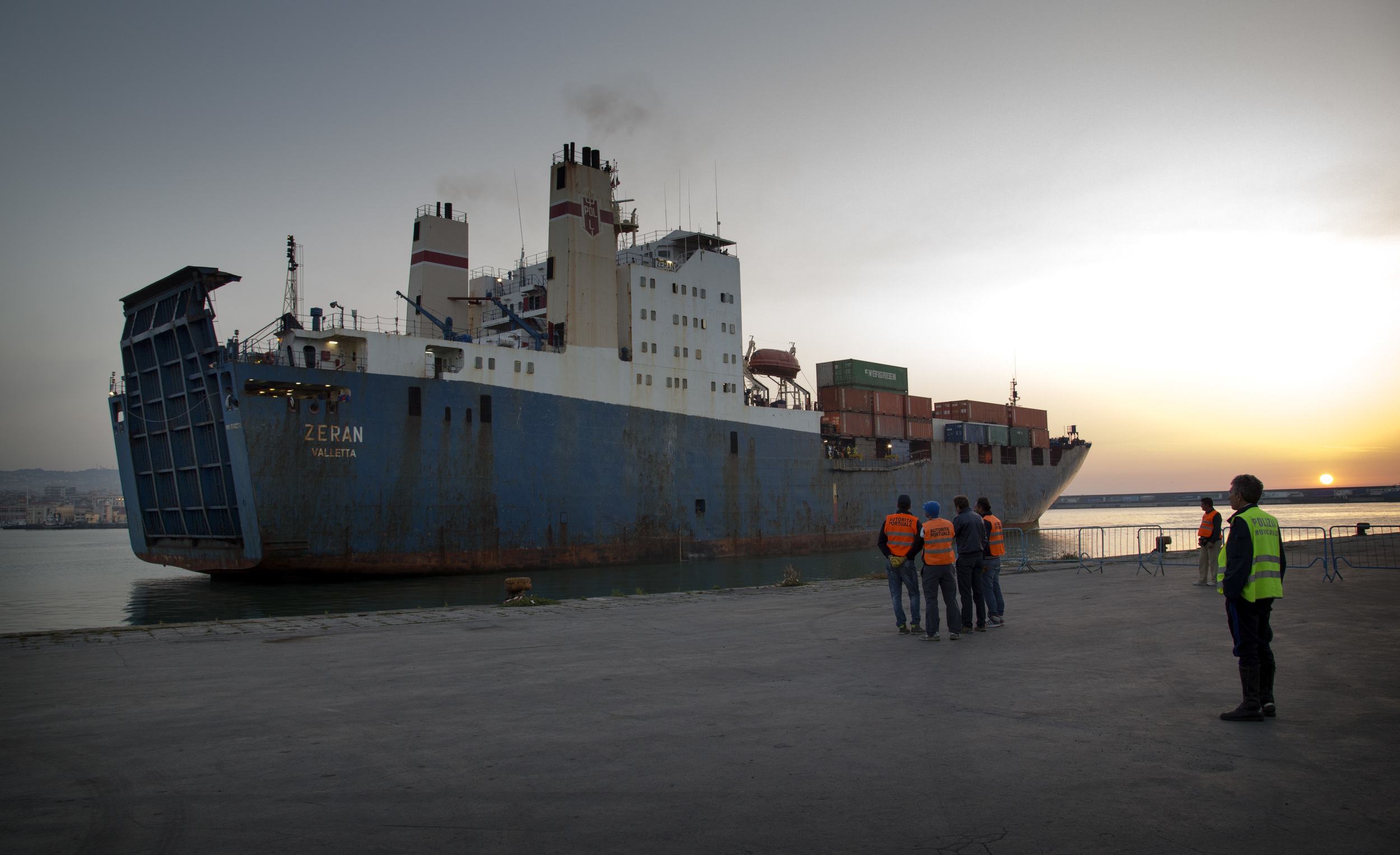 Maltese cargo ship Zeran brings 194 migrants to safety at the port of Catania, Sicily, on 5 May