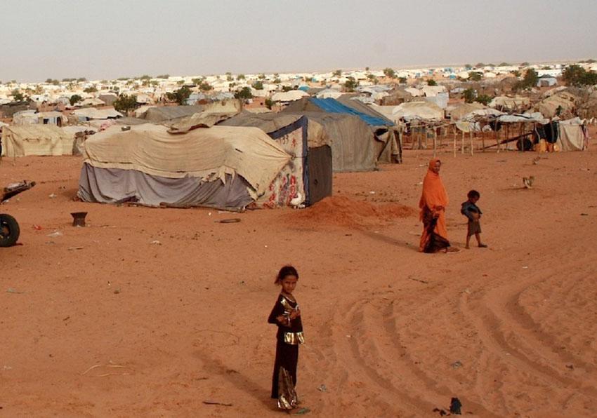 Vue du camp de réfugiés de M'berra, situé en Mauritanie, à 50kilomètres de la frontière avec le Mali