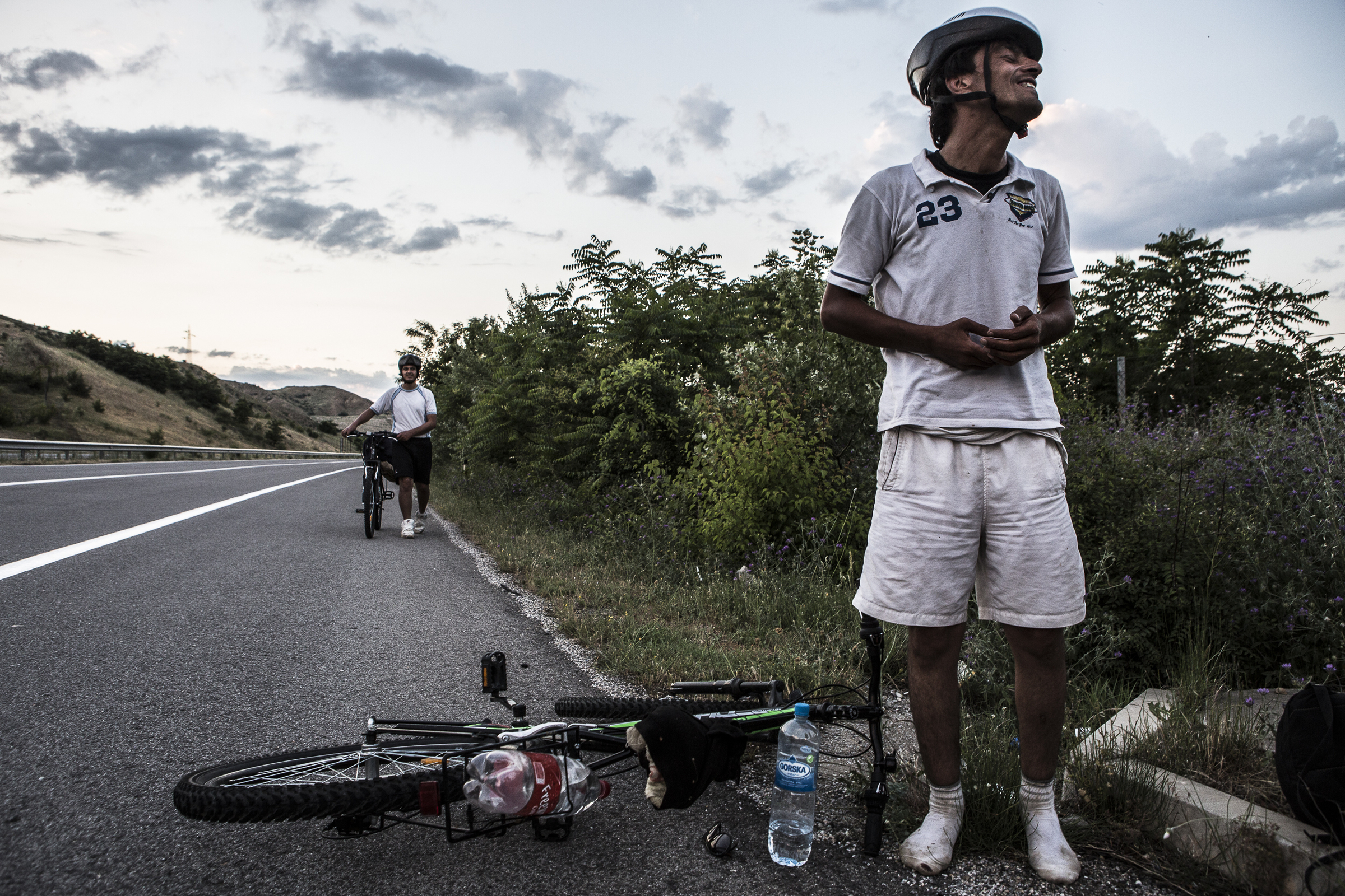 Ali and his friend are among an increasing number of Syrians who have taken to riding bikes as a faster and safer way of crossing Macedonia.