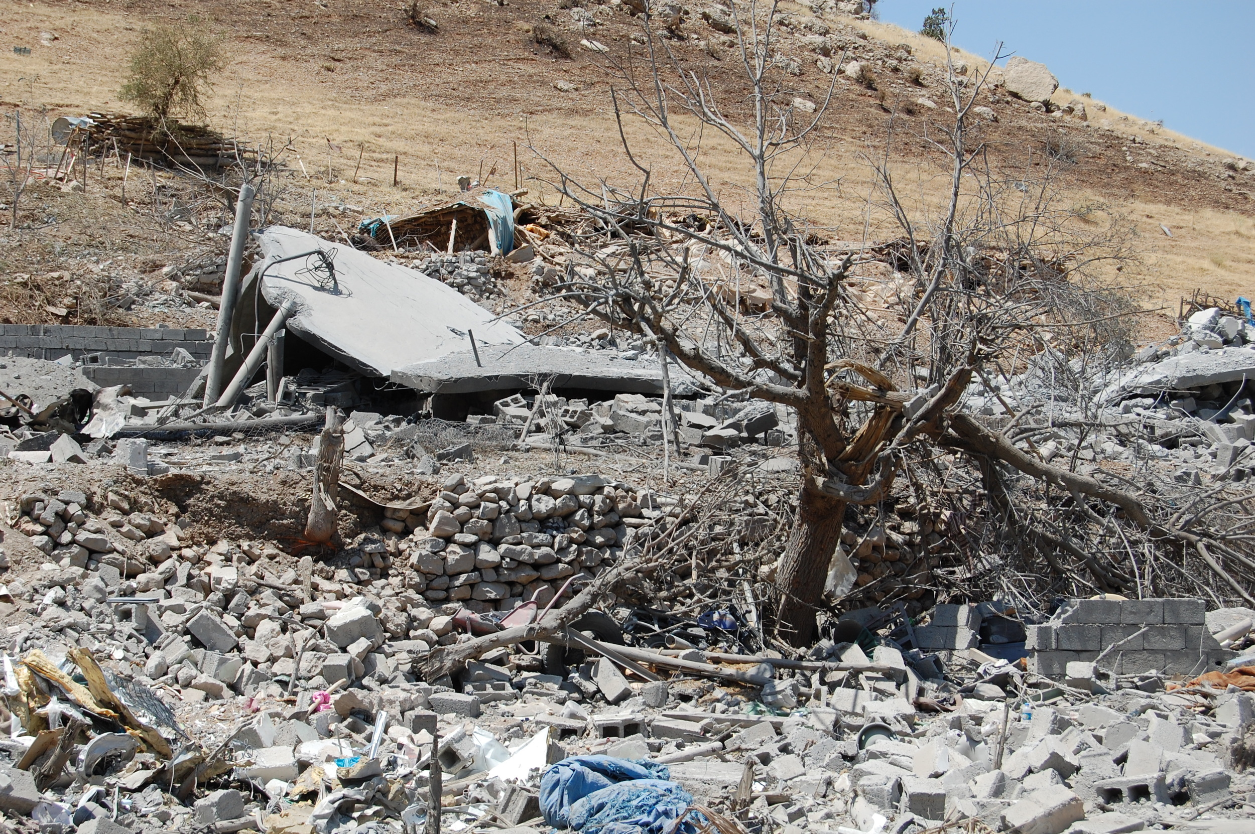The remains of a number of houses destroyed in the attack