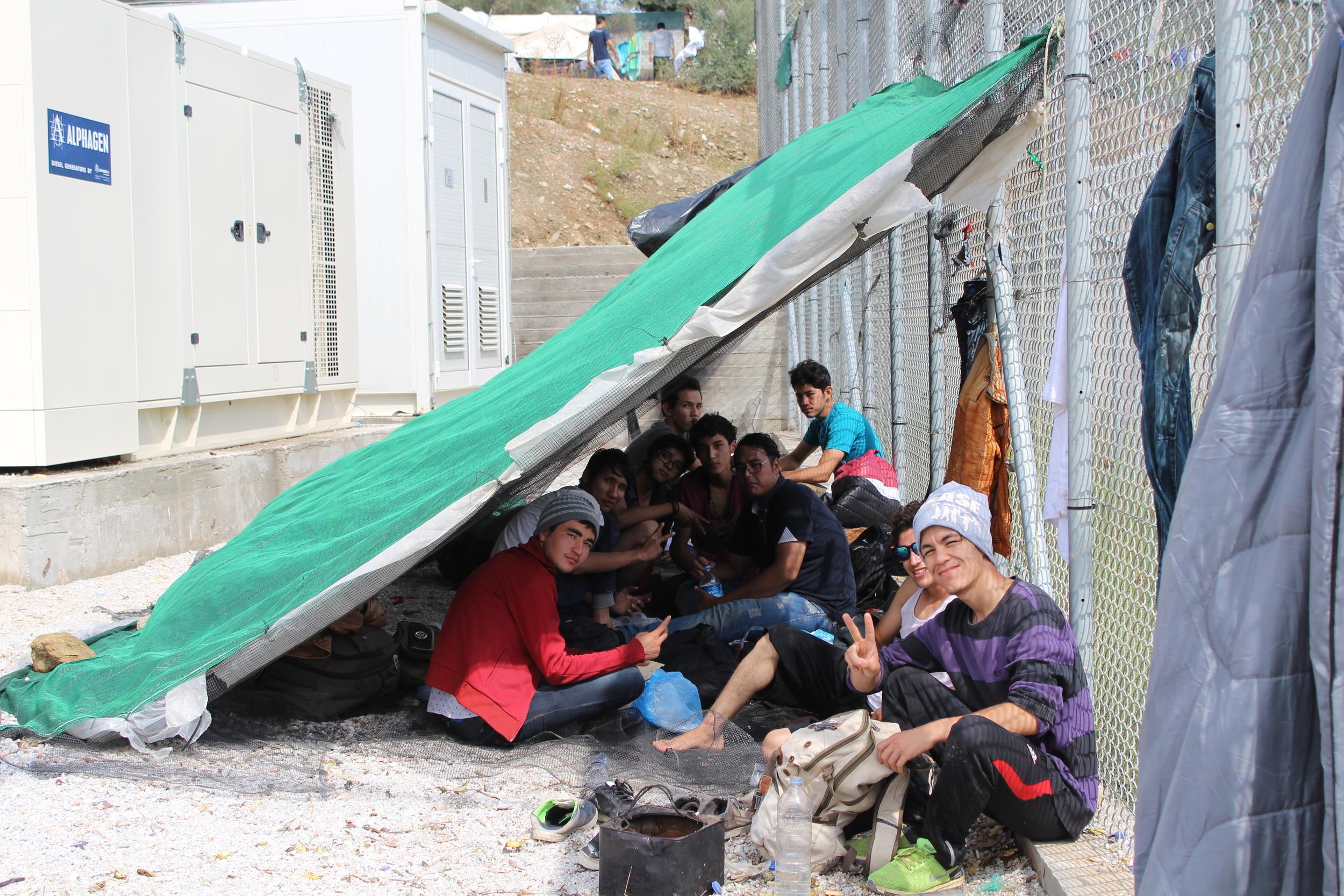 Shelters in Moria refugee camp (Daniel Elkan/IRIN)