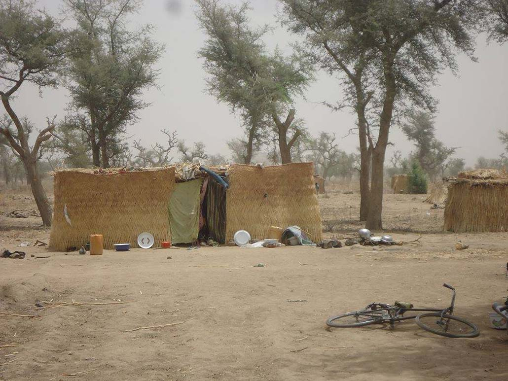 IDPs in northern Cameroon often build temporary shelters using woven straw and dried grass (Sylvestre Tetchiada/IRIN)