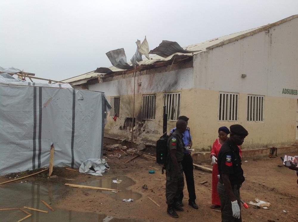 Le lieu de l'explosion dans le camp de PDIP de Malkohi, à Yola (Ibrahim Abdul'Aziz
