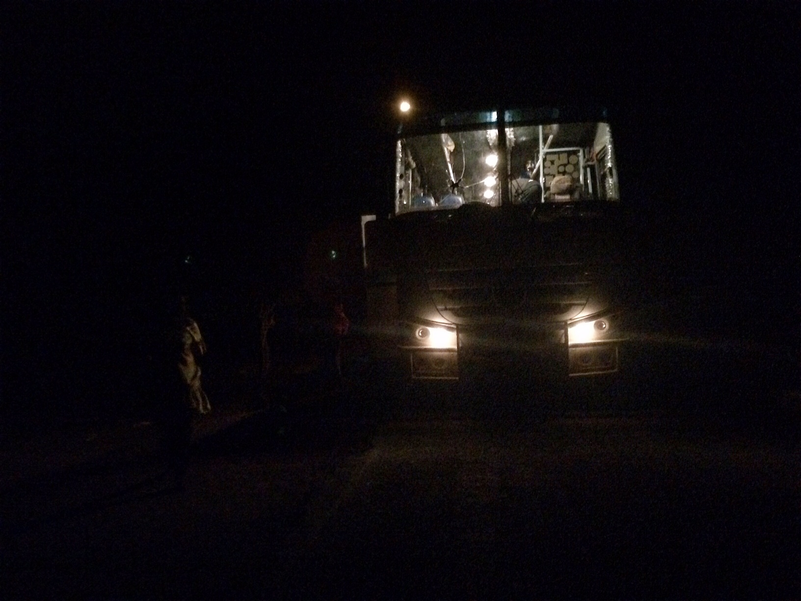 Buses and trucks often end up traveling dangerous roads at night, trying to reach the next town, after breaking down on desert roads (Katarina Höije/IRIN)