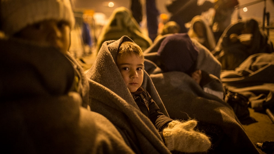 A child waits in line with a group of refugees on the border between Austria and Hungary at Nickesldorf (Andrei Pungovschi/IRIN)