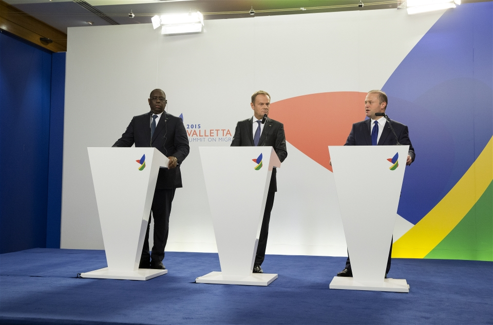 From left to right, Macky Sall, President of Senegal, Donald Tusk, President of the European Council and Joseph Muscat, Maltese Prime Minister at the Valletta Summit on migration (The European Union)