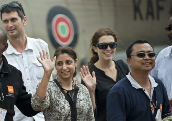 Steve Dennis (back left in white shirt) and colleagues in Nairobi shortly after the end of his hostage ordeal