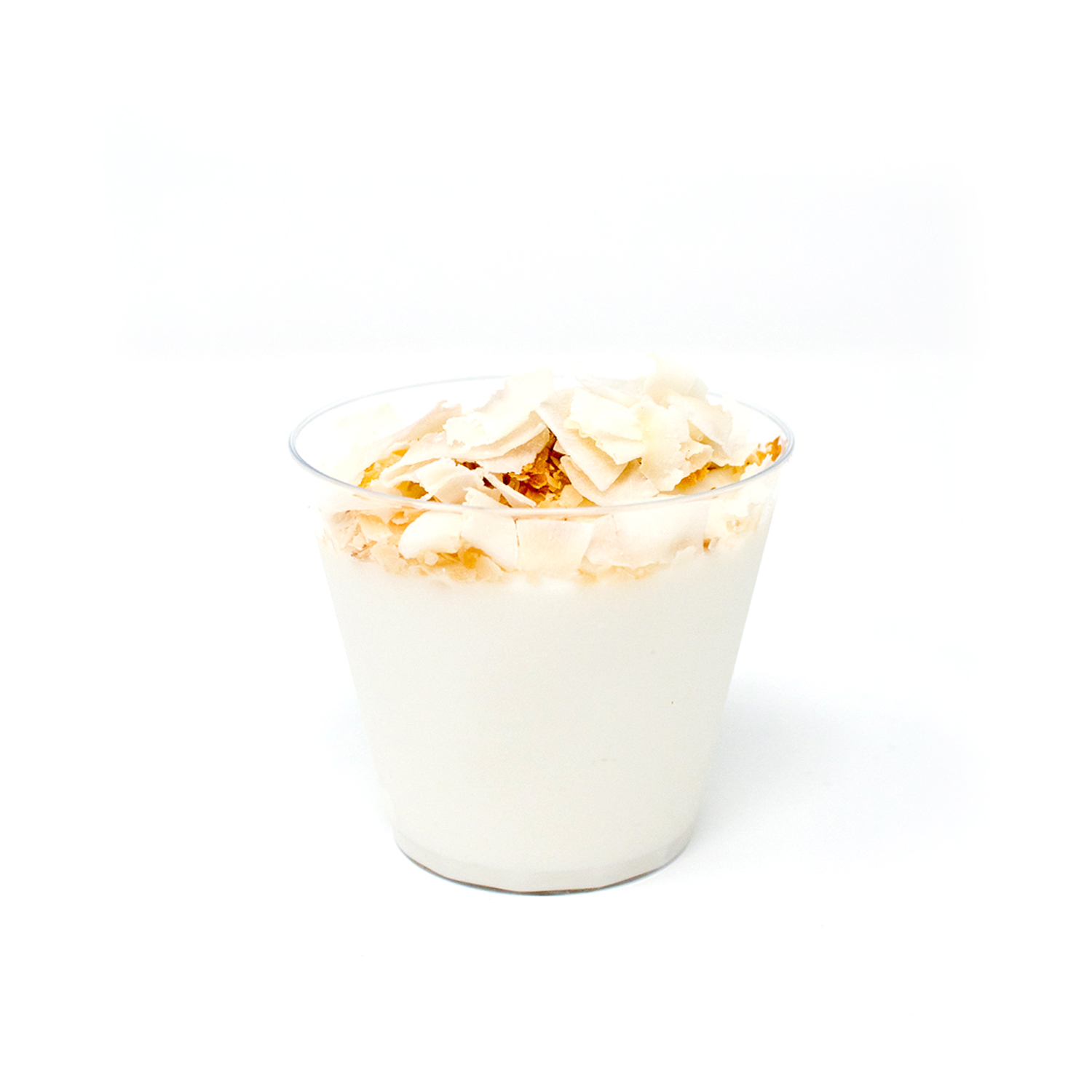 Haupia Cups (GF, V)   $54   Silky Hawaiian coconut pudding topped with macadamia nut and flaked raw coconut