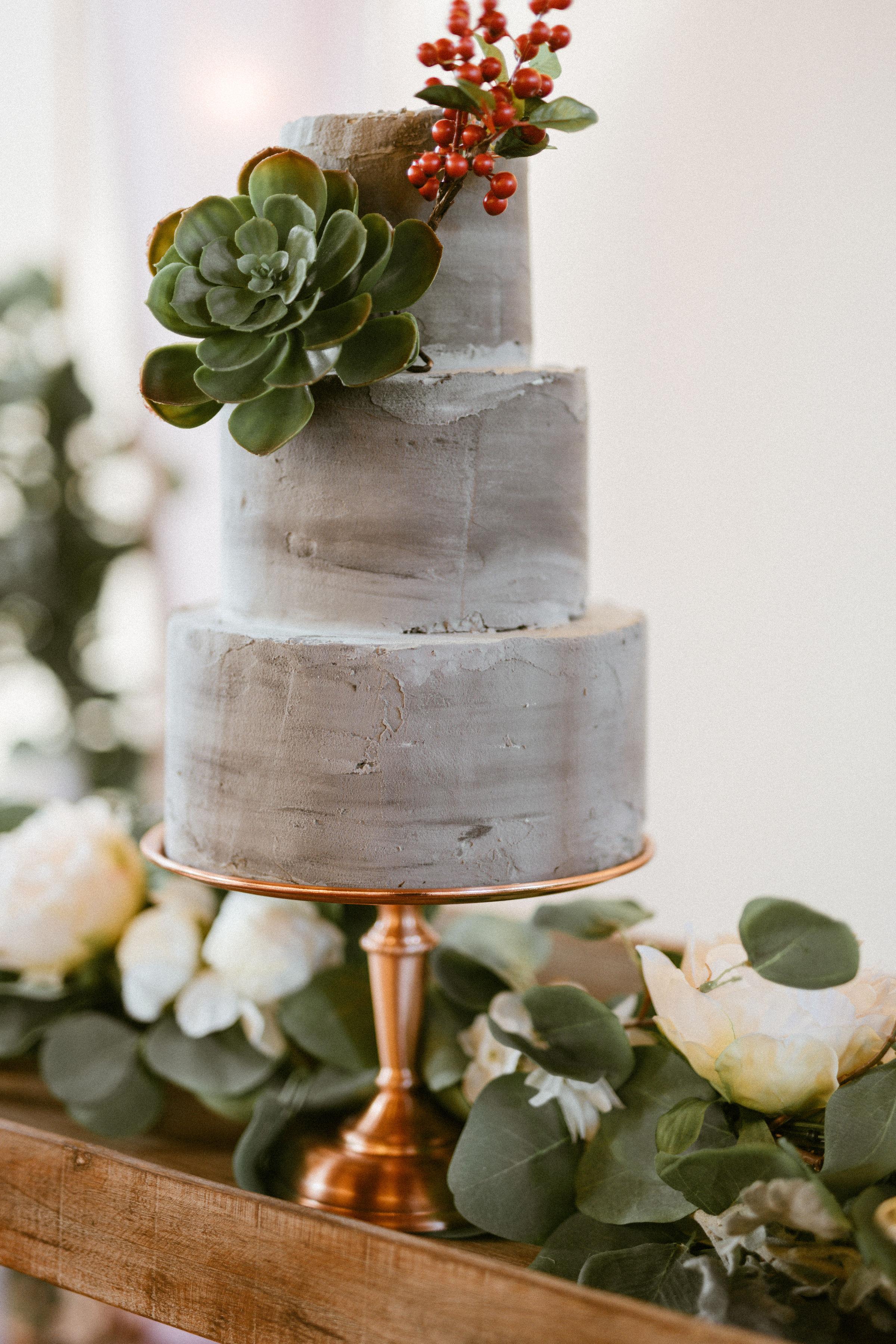 modern concrete wedding cake